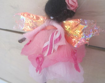 Breast Cancer Awareness Felted Fairy Decoration