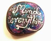 Galaxy afirmation art rock.galaxy mindful décor.power of mind.Mandala stone art.mandala rock Meditation stone.Feng shui.paperwaight.TWOPI1DB