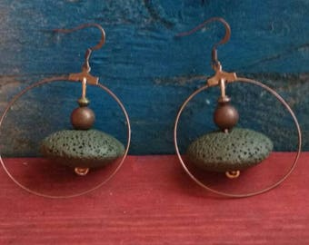 Tribal zen earrings. Rustic brown  earthy earrings jewellery.earth lovers.lava earrings.cooper rustic dangle earrings.hand made. TWOPI1DB