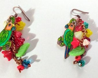 Parrot flowery drop dangle earrings. jewellery.jungle style earrings.cooper rustic dangle earrings.parrot drop.hand made.flowers. TWOPI1DB