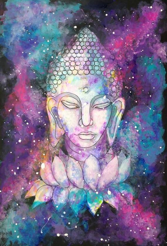Boeddha Galaxy Spirituele Verjaardag Groeten Cards Yoga Groet Etsy