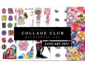 COLLAGE CLUB [JANUARY 2021] Printables by jameslukeburkeCREATIVE
