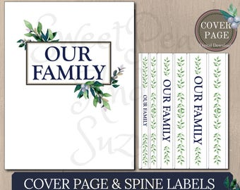 """Cover Page & Spine Label Inserts - """"Our Family"""" -  Great for making a Family History Binder or Emergency Binder"""