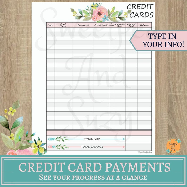 Credit Card Payment Tracker Debt Payoff Monthly Credit