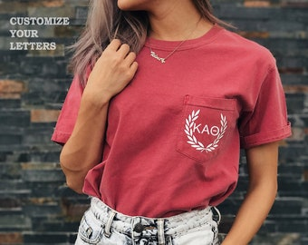 Custom Greek Letters -  Comfort Colors Sorority Unisex Pocket T-shirt