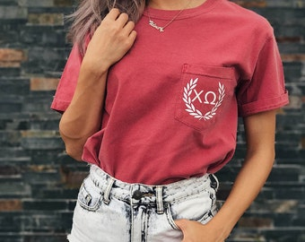 Chi Omega Comfort Colors Laurel ΧΩ Unisex Pocket T-shirt