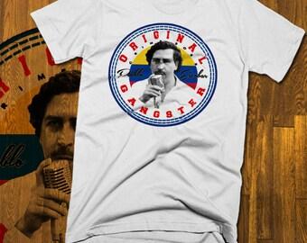 b55bfc9f Pablo Escobar T-shirt King Of Cocaine Crown Medellin Cartel Plata O Plomo  Gangster El Patron Del Mal Narco Chapo Drug Thug Kingpin Of Blow