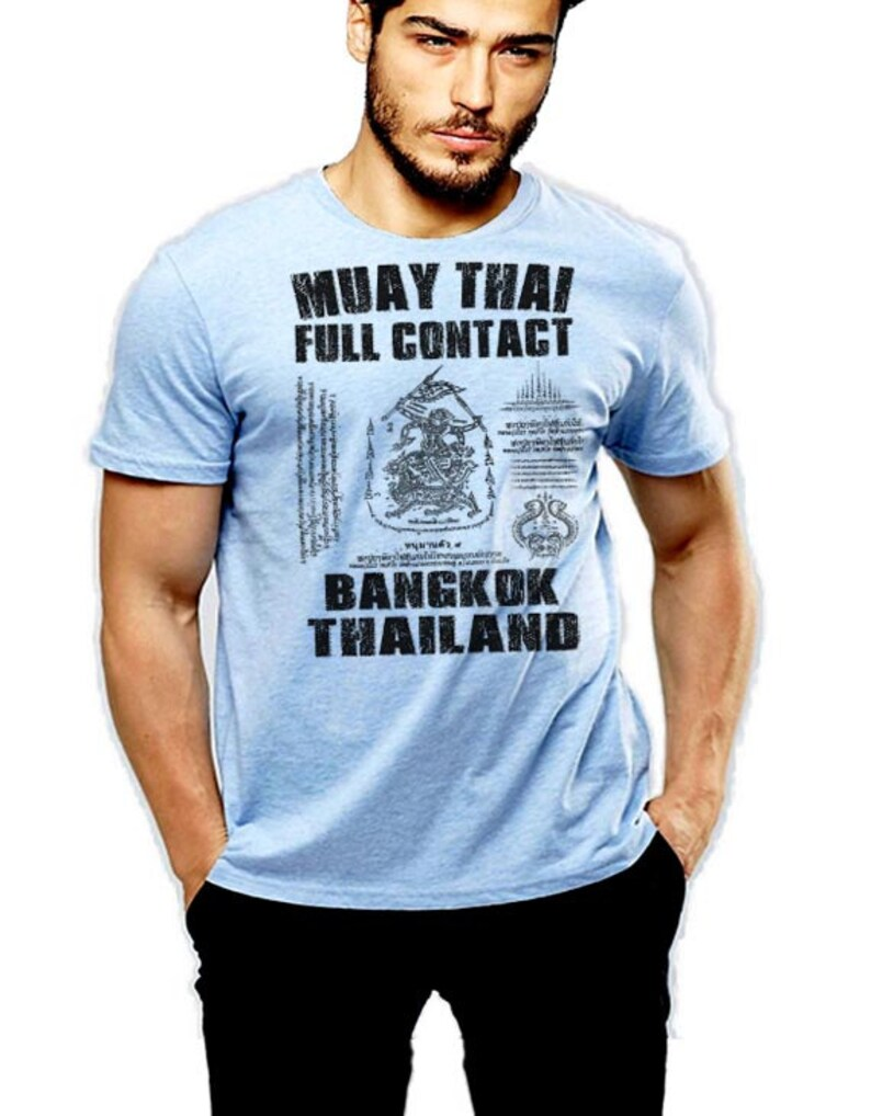 Muay Thai T-Shirt Thai Boxing Bangkok Thailand Full Contact Cotton Tee