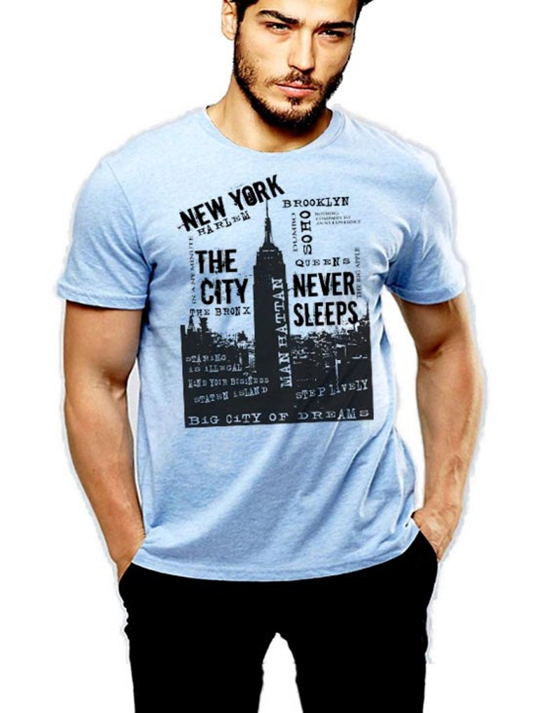 a8e1a6398 NYC T-Shirt New York City Never Sleep Brooklyn Queens The | Etsy