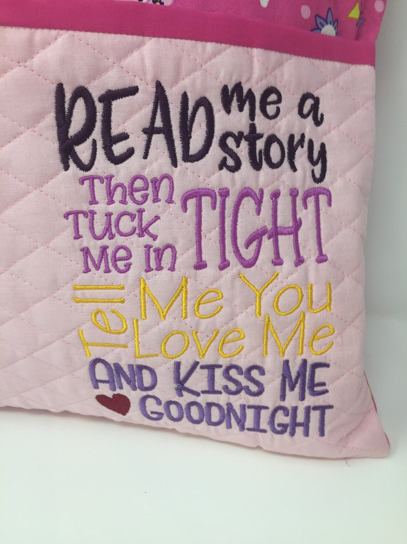 Machine Embroidery Book pocket Peppa Pig Reading Poem Reading pillow Birthday Girls  pocket pillow Christmas Applique Quilted Cover