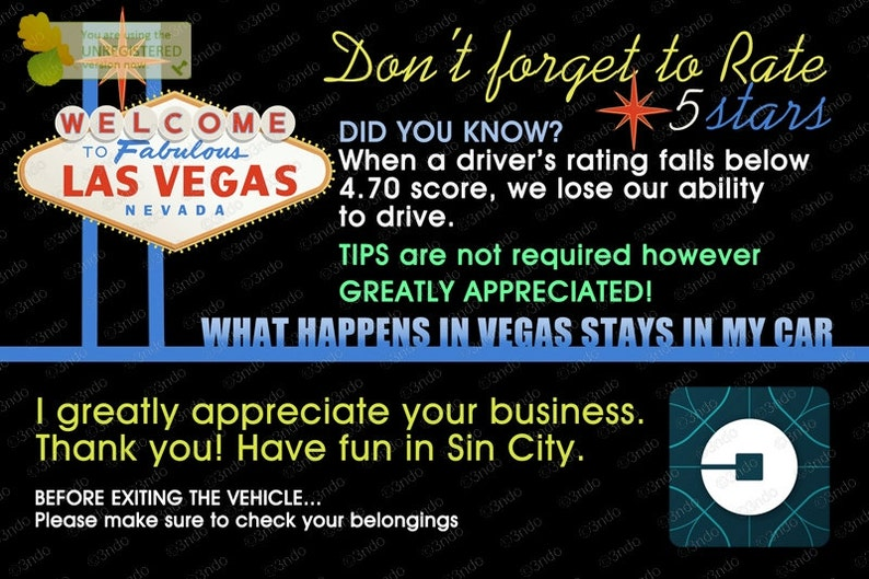 Uber or Lyft Tips and Ratings Placard Headrest Signs for Uber & Lyft  Drivers! Boost your ratings! Increase your TIPS! Design: LAS VEGAS