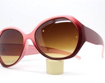 c979023f001 Occhiali da sole donna stile farfalla grande bicolore rosa lenti sfumate  ambra