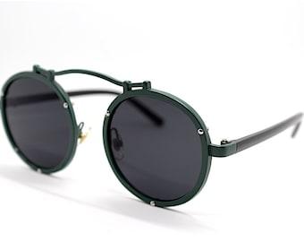 991b280d29c09 Occhiali da sole uomo donna metallo retrò rotondo grande verde militare  nero Big round sunglasses man woman military green black Steampunk