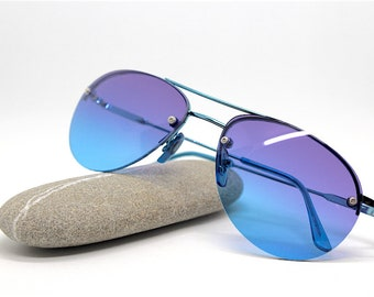 49ce2154aa6a Occhiali da sole uomo donna vintage aviatore goccia blu azzurro Drop pilot  Sunglasses man woman blue light blue italian
