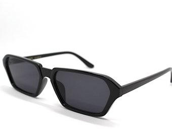 e5f5404445 Occhiali da Sole Donna Uomo rettangolare ottagonole Nero rectangulaire octogonal  lunettes de soleil femme homme noir