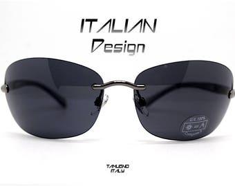 ... da sole uomo avvolgente vintage ovale senza montatura grigio nero,  lunettes de soleil homme forme ovale sans monture style adhérent matrice noir  italien 403db905fa83