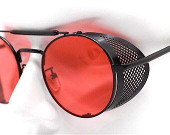 cb9eb3d546c2 Occhiali da sole uomo donna futuristico rotondo nero rosso Round sunglasses  man woman black red lens Steampunk cyberpunk futuristic punk