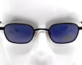 Occhiali da sole uomo vintage quadrato esagonale nero SPECCHIO BLU Square hexagonal Sunglasses man matt black BLU steampunk Design Italy