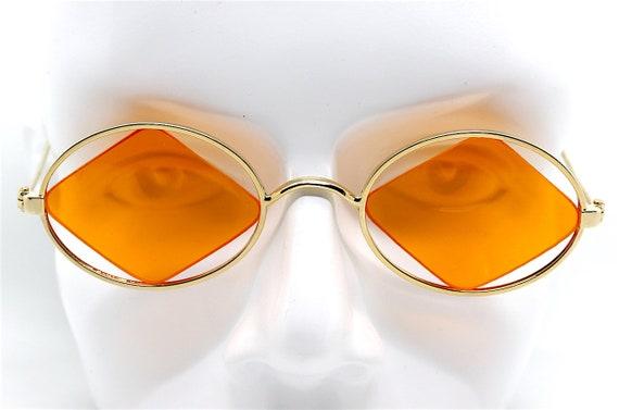 1a1682254c468a Occhiali da sole ovale vintage oro lente arancio un rombo   Etsy