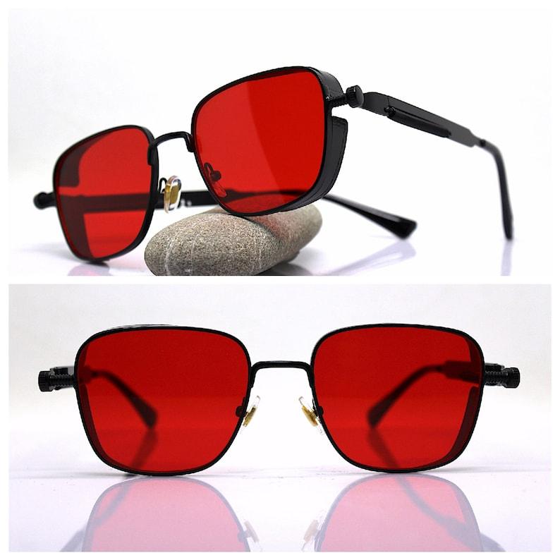 Square sunglasses man metal black frame intense red lens steampunk cyberpunk rock dark blade runner retr\u00f2 vintage pilot military