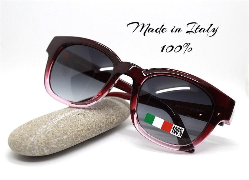 Occhiali sole uomo donna quadrato rotondo nero maculato marrone viola Square round sunglasses woman man black purple spotted Made in Italy