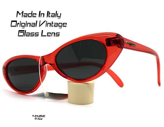 Occhiali da sole donna occhio di gatto rosso blu giallo lente vetro sunglasses woman cat eye Red Blue Yellow glass lens Made in Italy
