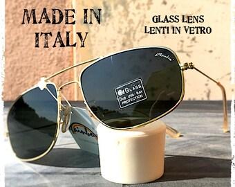 Occhiali da sole uomo aviatore Rettangolare metallo oro lente vetro Rectangular men's sunglasses pilot aviator glass lens Made in Italy