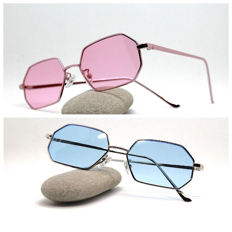 occhiali da sole uomo donna ottagonale blu rosa Octagonal rectangle Sunglasses man woman silver pink frame blue pink steampunk hippie boho