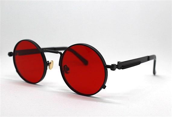 Occhiali da sole uomo donna rotondo ovale rosso nero oro rosa Round Oval sunglasses man woman red black gold pink Steampunk Vampire gothic