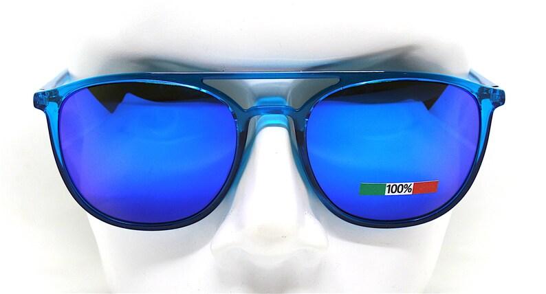 MADE IN ITALY oval square aviator sunglasses man transparent blue frame electric blue mirror lens, Occhiali da sole uomo blu specchio
