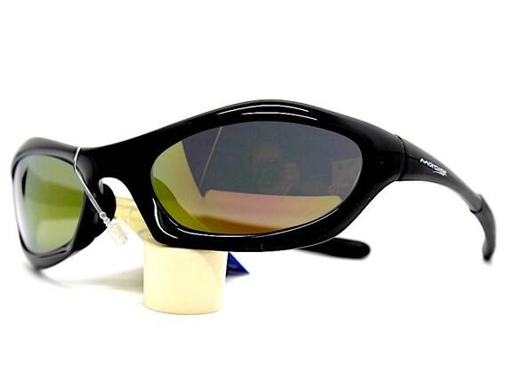 negozio online c531e f9ce4 Occhiali da sole uomo nero ovale sportivo avvolgente lente specchio Oval  Sunglasses man black sports enveloping mirror bike motorcycle style