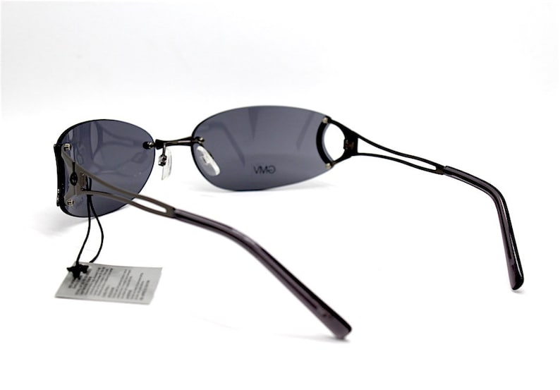 Occhiali da sole uomo GMV VENTURI metallo ovale rettangolo avvolgente Rimless sunglasses man metal oval Rectangular enveloping Matrix ITALY
