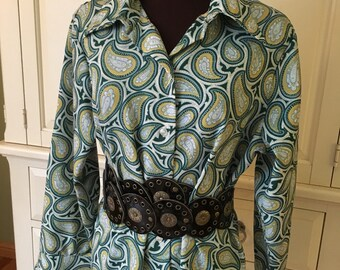 c04fa5fe1be Fun Print Vintage Alfred Dunner 1970's Paisley Lightweight Blouse