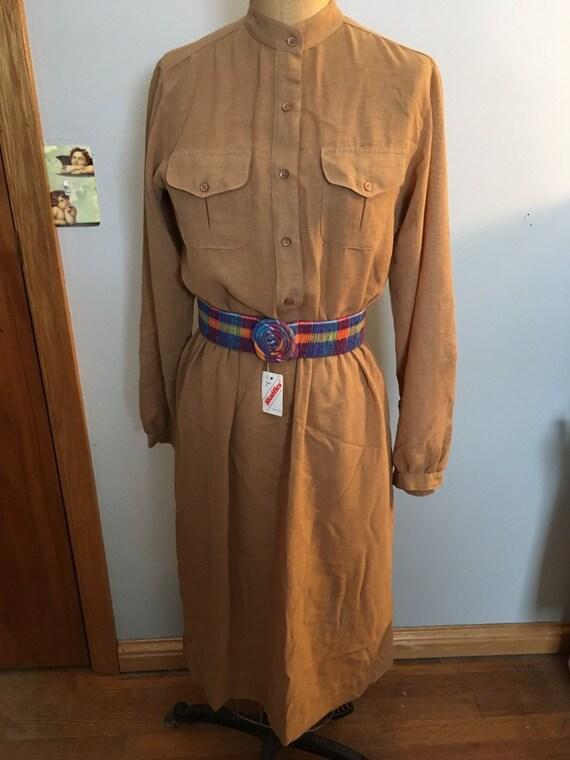 Vintage 1970s  Nancy Greer Shirt Dress With Belt