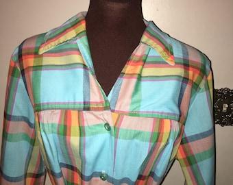 Super Cute Vintage 1970s / 1980s Plaid Dress