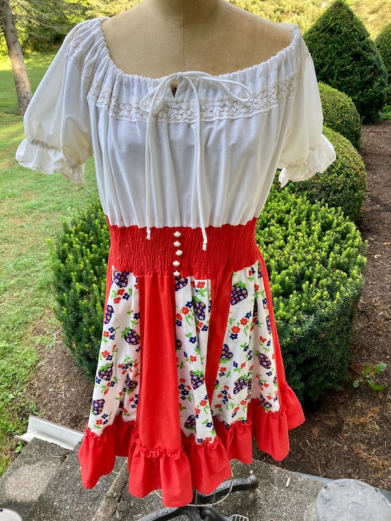 Vintage 1960s Country Strawberry Dress Size L / XL