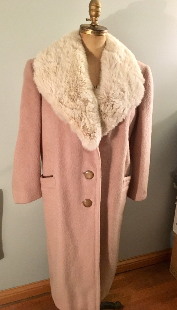 Beautiful Vintage Blush Pink Mohair Blend Big Fur