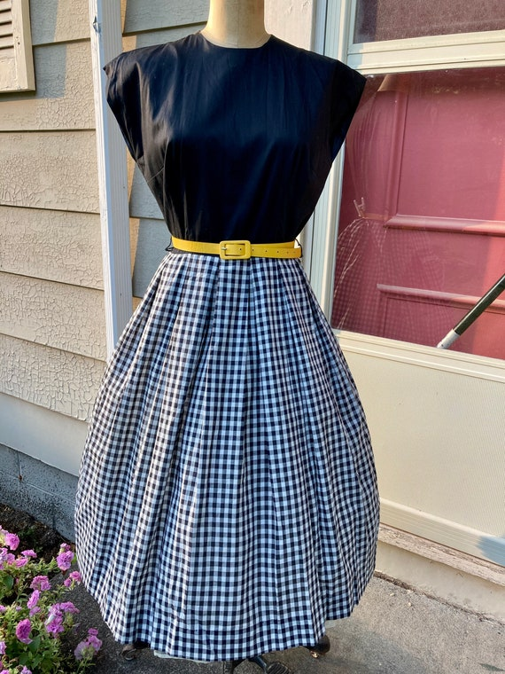 Vintage 1960s Mode O'Day Black And White Gingham D