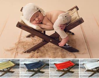 Wood Rustic Miniature Hammock, Deck Chair, Newborn Photography Prop - Ready to Ship