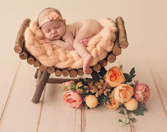 Curved Rustic Bench, Newborn Photography Prop, Wood Log Bed - Ready to Ship