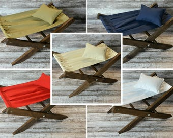 Wood Rustic Miniature Hammock Deck Chair AND Matching Pillow, 5 colors Interchangeable, Newborn Photography Prop - Ready to Ship