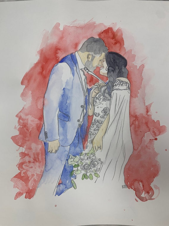 Wedding Gift, Wedding Reception, Guest Book, Wedding Keepsake, Custom Painting, Special Ocassion, ORIGINAL Watercolor painting