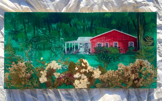 House Portrait on wood with RESIN, custom home painting, hand painted