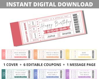 Birthday ticket coupon book editable / customizable printable template. DIY digital file gift for couples, girlfriend, boyfriend, friend