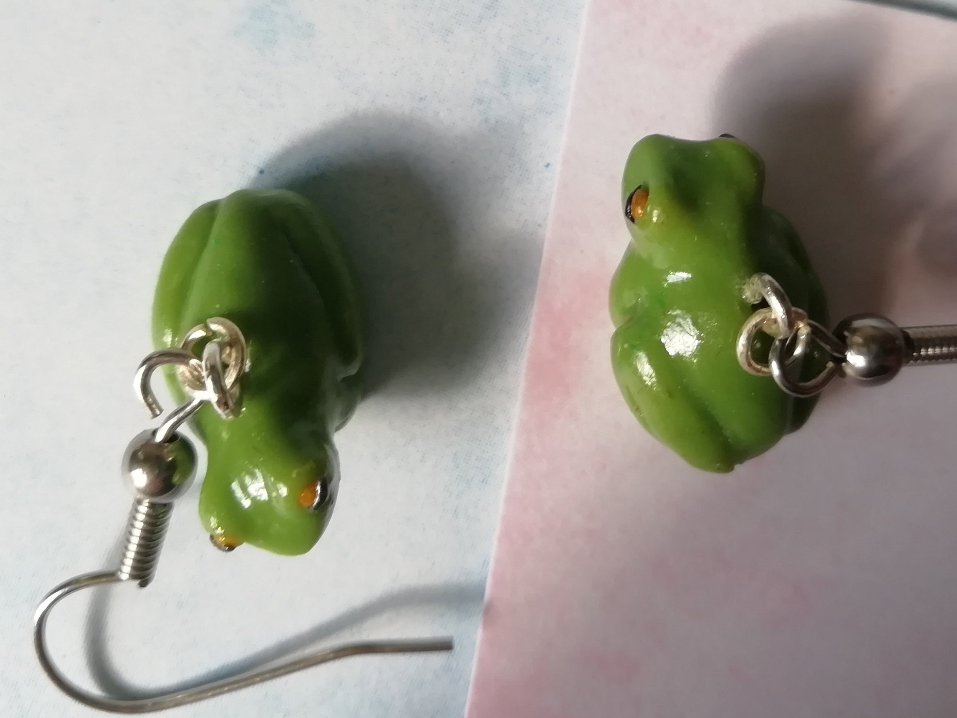 Polymer Clay Woven Huggies Earrings in Camel /& Forest Green PREORDER Handcrafted