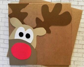 Rudolph Christmas Card, Christmas Card set, Reindeer card, Holiday Card, Handmade Christmas Card