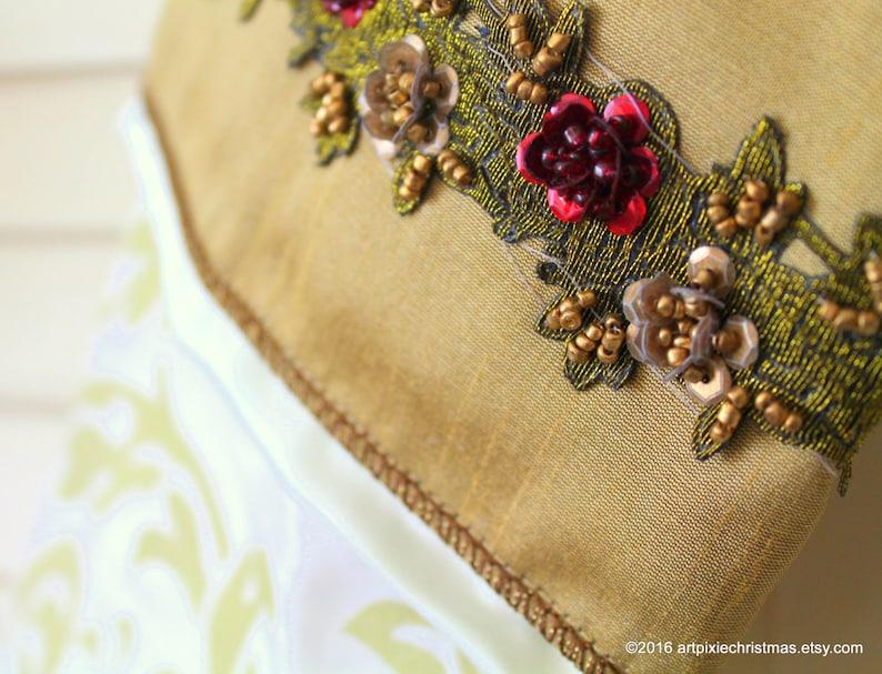 brocade taffeta with rose beaded ribbon cuff 17 Christmas Stocking ~ Irish decor ~holiday decor ~xmas ~mantle ornament ~gift ~traditional