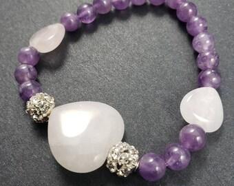 Amethyst Bracelet with Rose quartz hearts