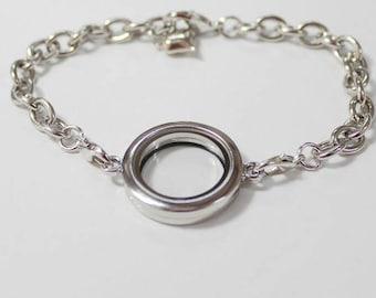 25mm Silver Plated Circle Floating Locket Bracelet