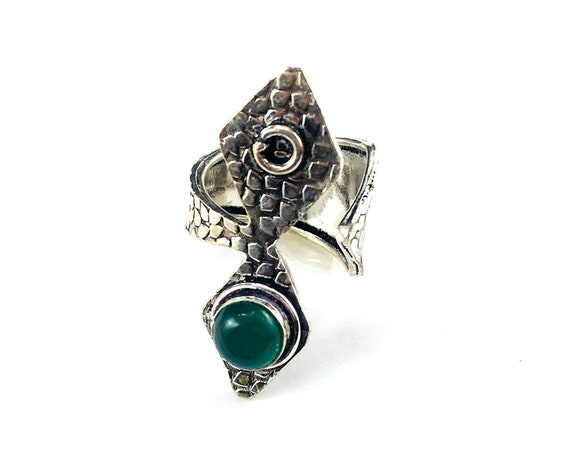 Vintage Style Aged SILVER overlay Boho Green ONYX Statement Ring Metal ADJUSTABLE Jewelry Hippie Stone